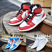 TOP 1 X White men basketball shoes 1s OG Chicago white red p...
