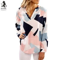 Womens Casual Print V Neck Long Sleeve Shirts Tops Blouse bl...