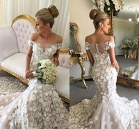 Luxurious Mermaid Wedding Dresses With Hand Made Flowers Off...