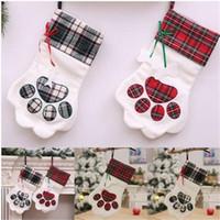 Бесплатная доставка оптовые плед Рождественский подарок сумки Pet собака кошка Лапа чулок носки Xmas дерево украшения