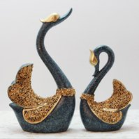 A Couple of Swan Figurine Handicraft Home Decoration Accesso...