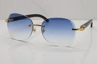 Edición genuina Negro Nuevo Buena Búfalo Cuerno Gafas de sol Sin rimo Popular 3524012 Gafas Calidad Unisex Limited Moda Hombres Sunglasse OBCNF