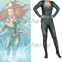 Mera Aquaman Movie Version Printing Cosplay Traje Spandex Lycra Zentai Halloween Party suit