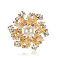 Boutique Women Pearl White Shipping Party 12pcs Broche Aleación Lady Hoja Joyería Cristal Pins Broches gratis, LHCKC