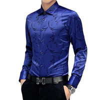 Große Größe 5XL Mens langärmelige Printed Shirts rot blau schlanke elegante Männer Kleid Shirt