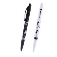 4 Pz / set Carino Nero Bianco Gatto Penna A Sfera Kawaii 0.5mm Blu Penna Cancelleria Per Bambini Forniture Scolastiche Ufficio Estojo Escolar