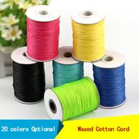 20 couleurs 1MM 200Yards / volume Fils de fil de coton ciré pour la fabrication de bijoux en cire