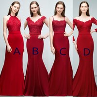 Mixed Styles Mermaid Burgundy Bridesmaids Dresses Appliques ...