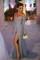 Gümüş Dantel 2018 Abiye Uzun Kollu Kapalı Omuz A-Line Örgün Balo Elbise Seksi Backless Bölünmüş Yan Akşam Parti kıyafeti Custom Made