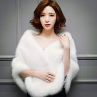 2018 nuovo arrivo economico elegante bianco rosso nero caldo bolero caldo nuziale mantello inverno pelliccia di inverno giacca da sposa giacca da sposa mantelli da sposa cappotto di nozze QC1155
