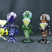 "Colored Alien Glass Smoking Pipes 8"" inch Oil Burner Ha..."