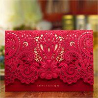 Luxus-Hochzeits-Einladungen 2017 Rotgold-Laserschnitt-Brautdusche-Einladungskarten mit Hüllkurven-Hochzeitsbedarf