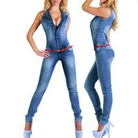 Sem mangas Macacão Jeans Sexy Bodysuit Mulheres Macacão Jeans Macacão Meninas Calças Jeans Senhoras Macacões das Mulheres Nova Moda