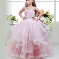 White Pink Tulle Flower Girl Dresses Sleeveless Pageant Gown...