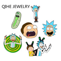 QIHE SIERADEN Rick En Morty Épingles Augurk Épingle Rick Emaille Rick en Morty broches médian Badges Épingles Emaille Accessoires