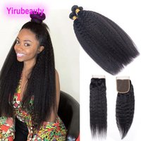 Peruvian 3 Bundles With Lace Closure 4 X 4 Top Closure Kinky...