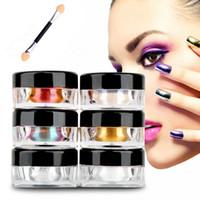 Toptan 12colors / set Sihirli Krom Tırnak Ayna Etkisi Çiviler Pigment Toz Lazer Büyülü Nail Art Araçları Ayna Krom