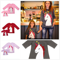 Mother&Daughter Family Clothing Lovely Unicorn Embroidered P...