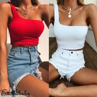 Buena calidad Emmababy Mujeres Top sin mangas Casual Summer T Shirt Tops Crop Solid Fashion Tee Shirts