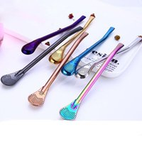 7 colors 304 Stainless Steel Creative Spoon Drinking Straws ...