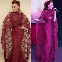 Graceful Arabic Dubai Celebrity Dresses Full Lace Appliqued Mermaid Evening Dresses Sparkly Cranberry High Neck Beaded Sequins Prom Dresses
