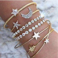4pcs set Crystal Star Moon Heart Bracelet Bangle Cuffs Silve...