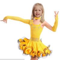 2016 Dantel Latin Dans Elbise İçin Kız Samba Elbise Balo Çocuklar Dans Kız Giyim Bale Vestido Baile Latin Kızlar