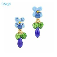 wholesale Luxury Jewelry enamel glaze Blue flowers earrings