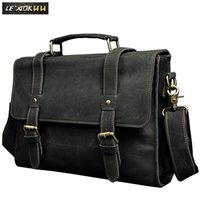 Le' aokuu Men Real Leather Antique Style Coffee Briefcase...
