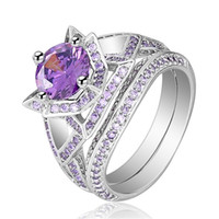 Exquisite Silver Plated Womens Amethyst Rose Flower Ring Bir...