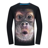 New Hot Funny 3D Monkey Printed Long Sleeve O- Neck Cotton Me...