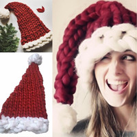 Christmas Hat Soft Woolen Knitting With Ball Kids Adult Chri...