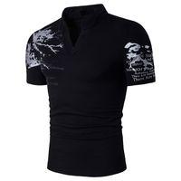 Polos da uomo Summer Mens grande taglia T Shirt Stand Collar Stampa manica corta Slim per maschio