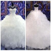 2021 Sweetheart robe de bal de balle perlée robe de mariée de broderie princesse robe chérie corset organza cathédrale cathédrale église robes de mariée