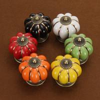 5 pçs / set Vintage Abóbora Cerâmica Porta Puxadores Gaveta Do Armário Armário de Cozinha Pull (Aleatório)