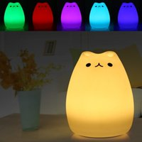 Night Light Silicone Cat Shape Bedside Lamp Color Changing R...