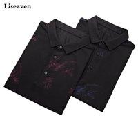 Polos Polos Pacote de 2 Peças Liseaven Camisas Camisa Masculina Manga Curta Impressão S Respirável Camisa Casual Masculino