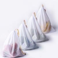 10 stks / partij Premium herbruikbaar touw mesh produceert tassen keuken fruit groente speelgoed opslag pouch Trekkoord boodschappentas