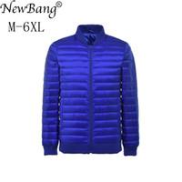 NewBang Plus 6XL 5XL Homens Jaqueta Para Baixo Ultra Leve Para Baixo Homens Jaqueta Blusão Parka Homem Inverno Outwear Grande Tamanho Outwear