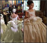 Pageant Elbiseler çocuklar Resmi Giyim Kare Dantel Aplikler Peplum Çiçek Kız Düğün Için Elbiseler Parti Doğum Günü Resmi Cemaat Giymek elbise