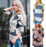 Casual Long Sleeve Printed Floral Flower T Shirt Women Top T...
