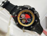 Top High Quality Watch N8 Factory 44mm Black PVD Case 26290io.OO.A001VE.01 Bandas de goma VK Cuarzo Cronógrafo Trabajo Mens Reloj relojes