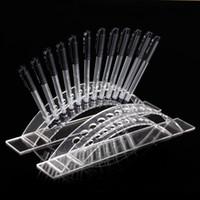 TONVIC en gros de haute qualité en acrylique arquéesLes Clear View Pen brosse cosmétiques Support à écran