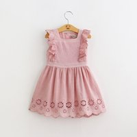 Girl dress kids flying sleeve Princess hollowed out dress ch...