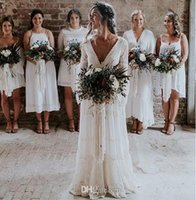 New Bohemian Lace Wedding Dresses A Line V Neck Backless Lon...