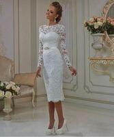 Vinatge Robe de mariée courte courte 2019 Nouvelle vente chaude Perles personnalisées Sash Modest Longue Manches Tea Longueur Dentelle Bridal Robes de mariée W12