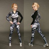 New Women Yoga Sets Fitness Sportswear Suits Long Sleeve Yog...