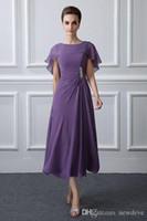 Фиолетовая длина чая Мать невесты Платья с обертками Элегантная линия шифон Мадре де Лос-Vestidos де матери платья вечером