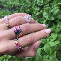 2018 mulheres arco-íris cor cz anel de noivado banda para as mulheres de Luxo lindo europeu mulheres jóias de alta qualidade completa cz eternidade banda anel