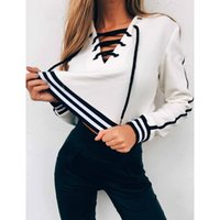 Women Long Sleeve Sweatshirts Black and White Striped Crop T...